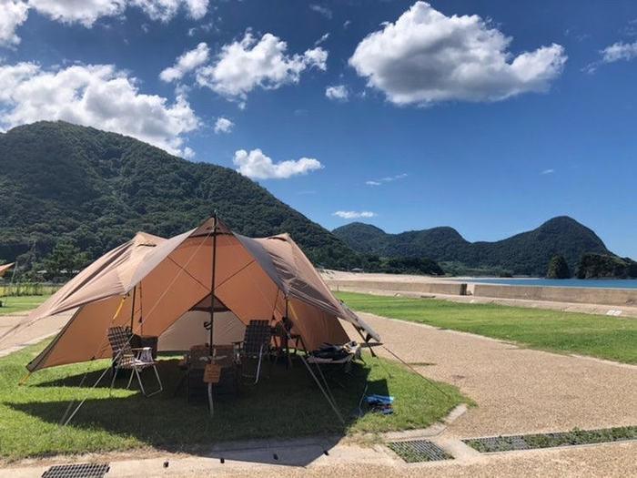 上大島キャンプ場は混雑知らずの広大なキャンプ場!春は桜を楽しめる!